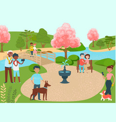 Lovely place for people group human walk dog vector