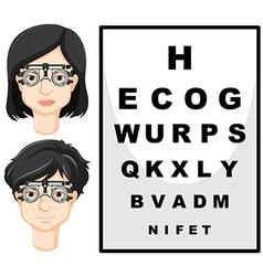 Man and woman with test glasses vector