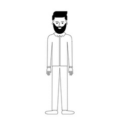 Man full body with beard and shirt and pants and vector
