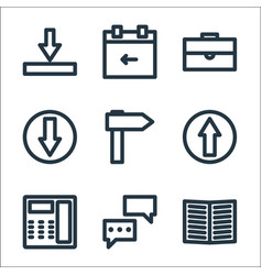 Marketing business line icons linear set quality vector