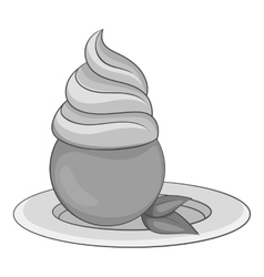 Mint ice cream icon gray monochrome style vector