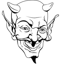 monochrome devil face vector image vector image