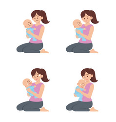Mother holding sad baset vector