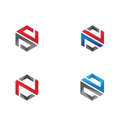 N logo hexagon icon vector