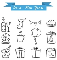 Neaw Year icons vector