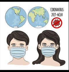 no ncov coronavirus health earth human dangerous e vector image