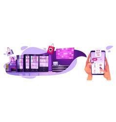 Online cosmetics store smartphone app concept vector