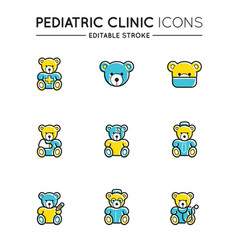 outline colorful icons set pediatric hospital vector image