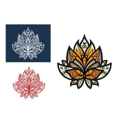 Outline persian paisley flower with retro ornament vector