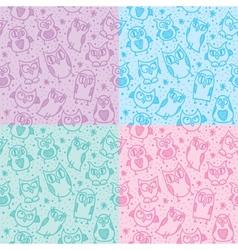 Owl seamless patterns vector