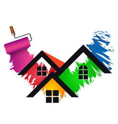 Paint roller house painting vector