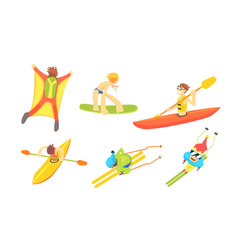 People outdoors activities set skydiving surfing vector
