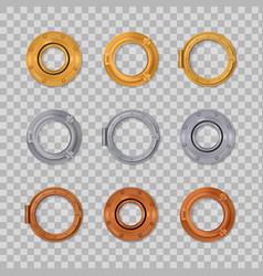 Porthole realistic transparent colored icon set vector