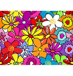 Seamless busy flower pattern vector image