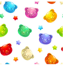 Seamless pattern with cute gummy bears vector