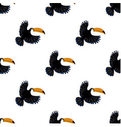 seamless pattern with flying toucan vector image