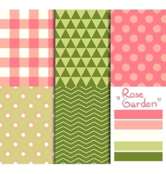 set 5 simple seamless geometric patterns rose vector image