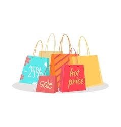 Set of Paper Bags with Text Sale Percentage Price vector