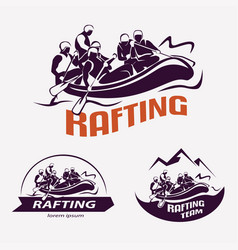 Set of rafting templates for labels emblems vector