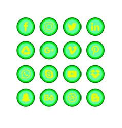 Social media green set vector