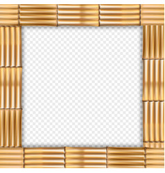 Square brown bamboo border with empty space on vector