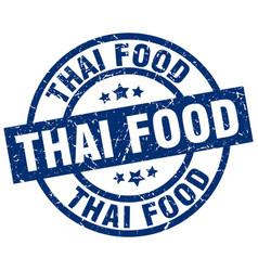 thai food blue round grunge stamp vector image