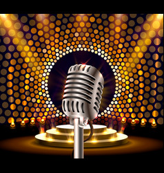 The musical show microphone on golden scene vector