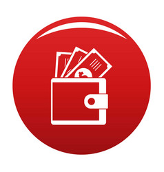 Wallet icon red vector