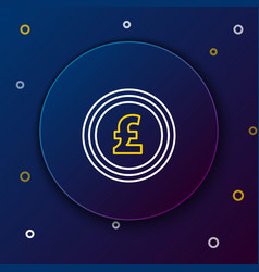 White and yellow line coin money with pound vector