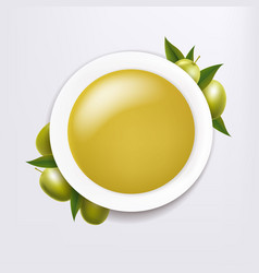 white ceramic bowl with olive oil and twig vector image