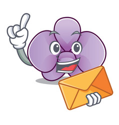 with envelope orchid flower character cartoon vector image