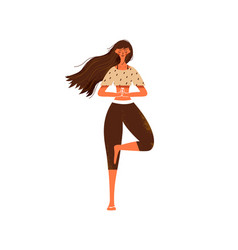 woman doing tree pose yoga on isolated background vector image