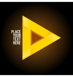 Yellow triangle shape on dark background vector image