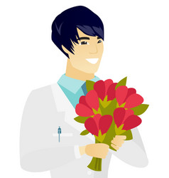 Young asian doctor holding a bouquet of flowers vector