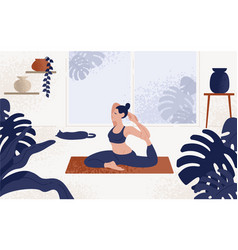 young woman sitting in yoga posture and meditating vector image