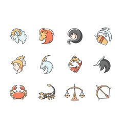 Zodiac signs rgb color icons set vector