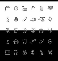 airport line icons - black and white vector image