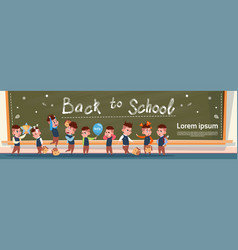 back to school group of small pupils girls and vector image vector image
