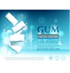 Blue chewing gum on background of snowflakes vector