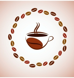 cup of hot coffee with coffee bean frame vector image vector image