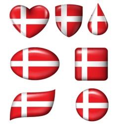 Denmark Flag in various shape glossy button vector image