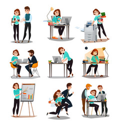 multitasking decorative icons set vector image vector image