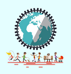 people around globe retro flat design vector image vector image