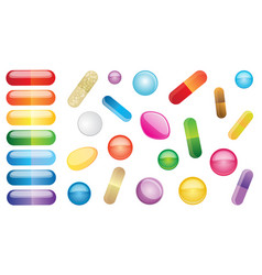 set multicolored pills vector image
