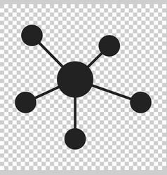 Social network molecule dna icon in flat style vector