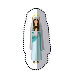 sticker saint virgin mary with baby jesus vector image
