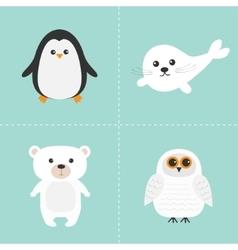 Arctic polar animal set White bear owl penguin vector image vector image
