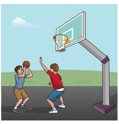 basketball game boys vector image vector image