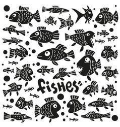 Fishes - doodles set vector image