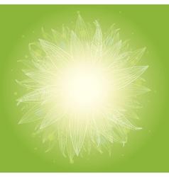 Magical green leaves sunburst background vector image